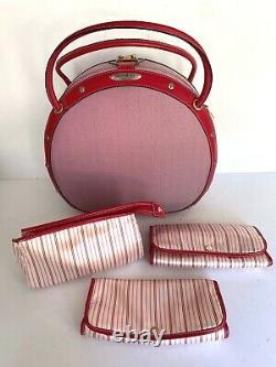 Samsonite Black Label Vintage Collection Red Beauty Train Case Key Cosmetic Bags