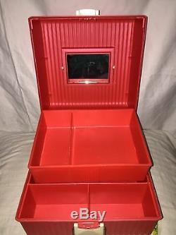 Sassaby Make-Up Case Organizer Vintage Box Train Pageant Travel White Pink