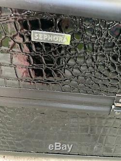 Sephora Collection Embossed Makeup Traincase Black Faux Croc Strap & Keys