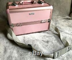 Sephora Makeup Case Professional Pink Metro Travel Train Hard Case Cosmetic