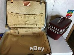 Set of 2 Vintage Samsonite Silhouette Wineberry Carry On and Train Makeup Case