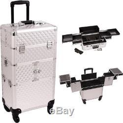 Silver Diamond Pattern 3-Tiers Accordion Trays 4-wheels Professional Rolling
