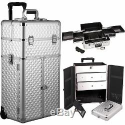 Silver Diamond Professional Rolling Aluminum Cosmetic Makeup Case French Door