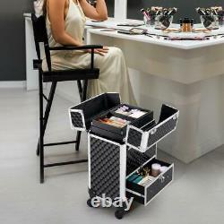 SmileMart Makeup Train Case, 4 Retractable Trays & 1 Drawer, Black