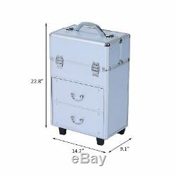 Soozier Rolling Cosmetic Makeup Train Case Silver