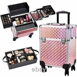Stagiant Rolling Makeup Train Case Large Storage Cosmetic Trolley 4 Tray with