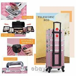 Stagiant Rolling Makeup Train Case Large Storage Cosmetic Trolley 4 in 1 Larg