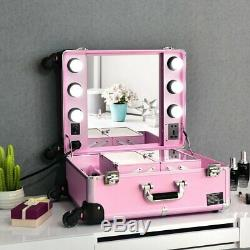 Studio Artist Train Rolling Makeup Case Light Wheeled Organizer