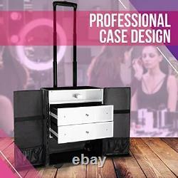 SunRise Professional Rolling Makeup Train Case Heavy Duty Hair Stylist & Make