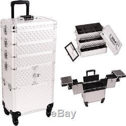 Sunrise Professional Aluminum Rolling Makeup Case Organizer Beauty Storage NIB