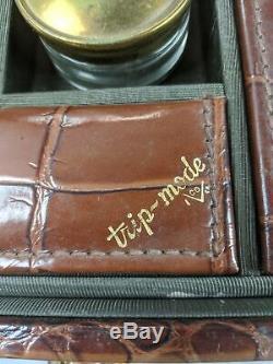 Sweet Retro Vintage Trip-Mode Brown Faux Alligator Train Makeup Case Luggage