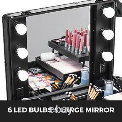 Table Maquillage Professionnelle Trousse à Maquillage Roulettes 2en1 6 Lampes