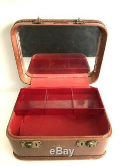 Train Case Superfortress Leather Red Tray Cosmetic Make Up Carry-on Luggage Vtg