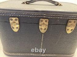 Travella Vintage Black Train Case Mini Luggage Makeup Case 13x9x9