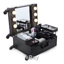 Trolley Cosmetic Organizer Box Makeup Travel Train Case