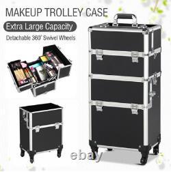 Trolley de aluminio l 3 en 1 Maleta de maquillaje Estuche Organizador cosmético