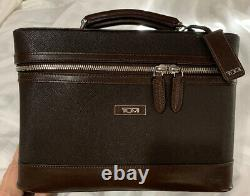 Tumi Zip Around Train Case Cosmetic Zipper Bag Mirror Travel Textured Leather