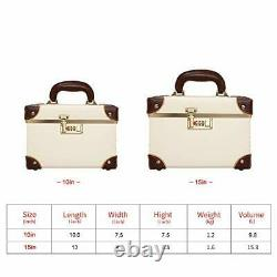 Urecity Portable Makeup Train Case Cosmetic Organizer Case Leather Storage Bo