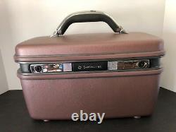VINTAGE 1987 SAMSONITE PROFILE BROWN TRAIN CASE MAKEUP CARRIER WithTRAY AND MIRROR