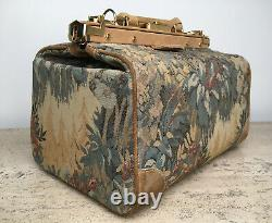 VINTAGE FRENCH LUGGAGE CO Paradise SUEDE & TAPESTRY SMALL TRAIN / MAKEUP CASE