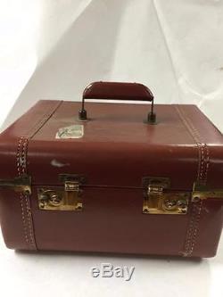 VINTAGE SAMSONITE SUITCASE MAKE UP TRAIN CASE With KEY IN RUST BROWN COLOR