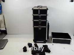 VIVOHOME 4 In 1 Rolling Makeup Train Case Aluminum black
