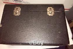VTG Antique Wood Faux Leather Train Cosmetic Case Luggage Mirror Makeup Box Nice