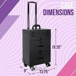 Ver Beauty Professional Rolling Makeup Train Case Hair Stylist Nail & Makeup