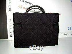 Vera Bradley Choo Choo Mirrored Train Case Cosmetic Classic Black Microfiber Nwt