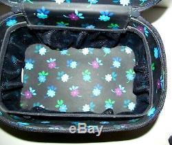 Vera Bradley Choo Choo Mirrored Train Case Cosmetic Rare Midnight Blues Nice