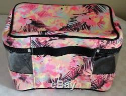 Victoria's Secret PINK Train Case & Makeup Bag 2pc Set Hawaiian Floral Print NWT