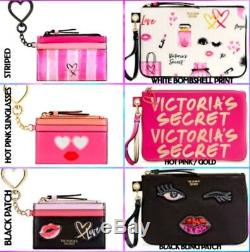 Victoria's Secret Pink Striped Cosmetic Bags Travel Case Bling Vs Patch Wldflwr