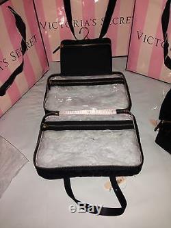 c29348a96fe7 Victorias Secret 3-PC Black Leopard Hanging MakeUp Bag Train Case ...
