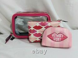 Victorias Secret 5 PIECE VANITY TRAIN Case LIPS Cosmetic Bag SET NWT