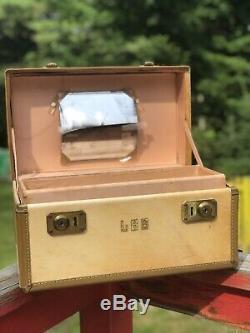 Vintage 1940's Hartmann Rawhide Vellum Beige Marbled Leather Train Case Makeup