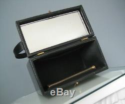 Vintage 1950s Bienen-Davis Leather Box Bag Train Case Cosmetics Travel Bag