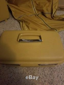 Vintage 3 Piece Yellow Aspen Hardshell Luggage Set Makeup Train Case Suitcase