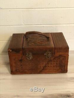 Vintage 40s TOOLED LEATHER Cosmetic Train CASE Suitcase Multi Tiered Compartment