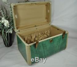 Vintage 50s-60s Samsonite Train CaseMarbled Bermuda GreenMake Up Cosmetic Bag