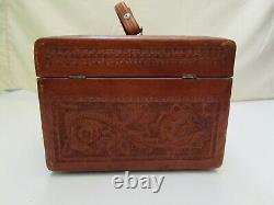 Vintage Antique hand tooled leather Mexican jewelry makeup train travel case VGC