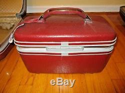 Vintage BURGUNDY SAMSONITE Profile Train Makeup Case Carry On Luggage 3 pc Set