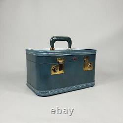 Vintage Blue Train Case with Key 1940s 1950s Suitcase Luggage Vanity Makeup