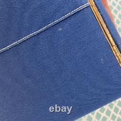 Vintage Celebrity Inc 1960s Blue White Train Case Makeup Box Bag Travel Purse