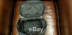 Vintage Coach Black Leather Train Case Cosmetic Makeup Travel Bag Toiletry EUC