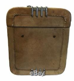 Vintage Deco Retro 1930s 40s Leather Wheary Train Cosmetic Case Suitcase