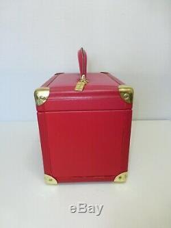 Vintage Elizabeth Arden Red Door Train Case Makeup Trunk Red Leather Gold Trim