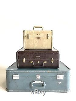 Vintage Faux Alligator Snake White Blue Makeup Train Suitcase Luggage Case Trunk