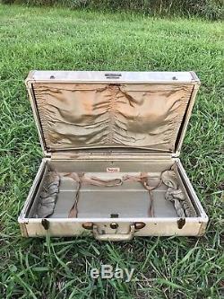 Vintage Faux Alligator Snake White Tan Makeup Train Suitcase Luggage Case Trunk