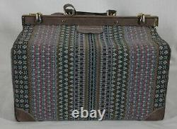 Vintage French Luggage Bluebell Pattern Suede Tapestry Large Make-up Train Case