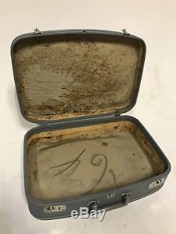 Vintage Green Blue Brown Tan Tweed Makeup Train Suitcase Luggage Case Trunk Set